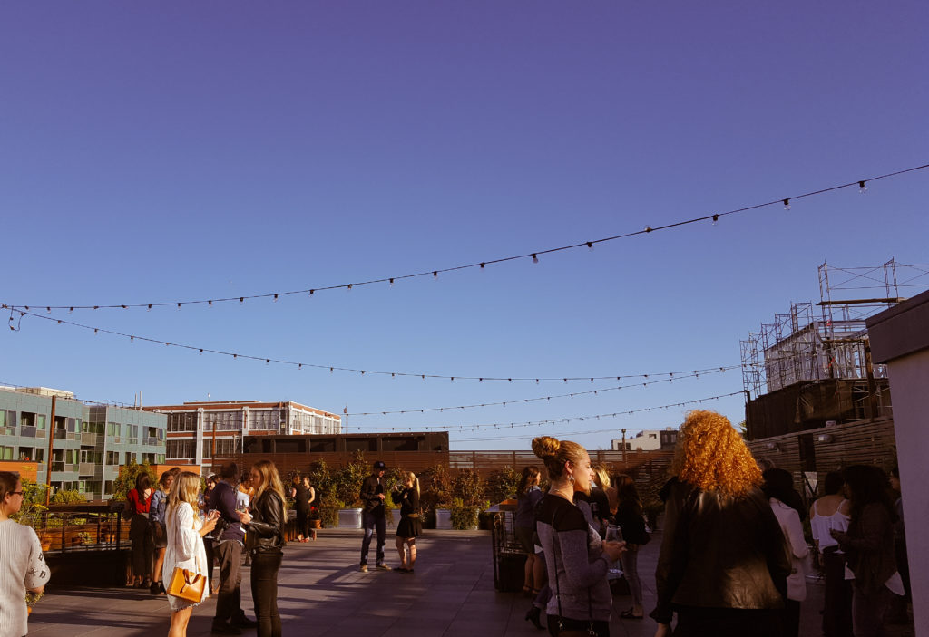 On the rooftop of The Pearl, a San Francisco venue. For Create Cultivates #LiveYourAdventure panel with Eddie Bauer.